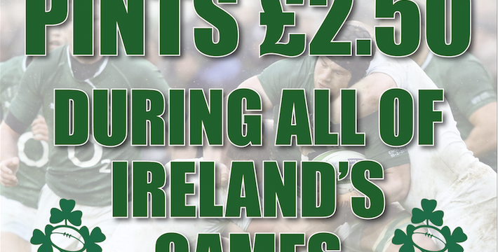 Pints £2.50 during Ireland games